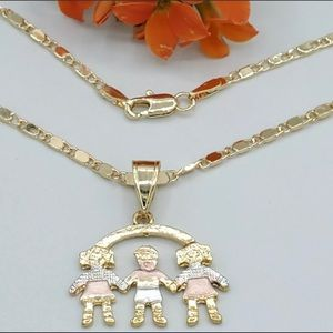 Gold Plated Kids Charms Family Necklace.